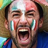 An Italy fan painted his face to get in the spirit.
