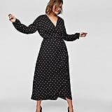 LOFT Polka-Dot Wrap Midi Dress