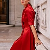 Gal Meets Glam Collection Ruby Royal Satin Asymmetrical Collar Dress