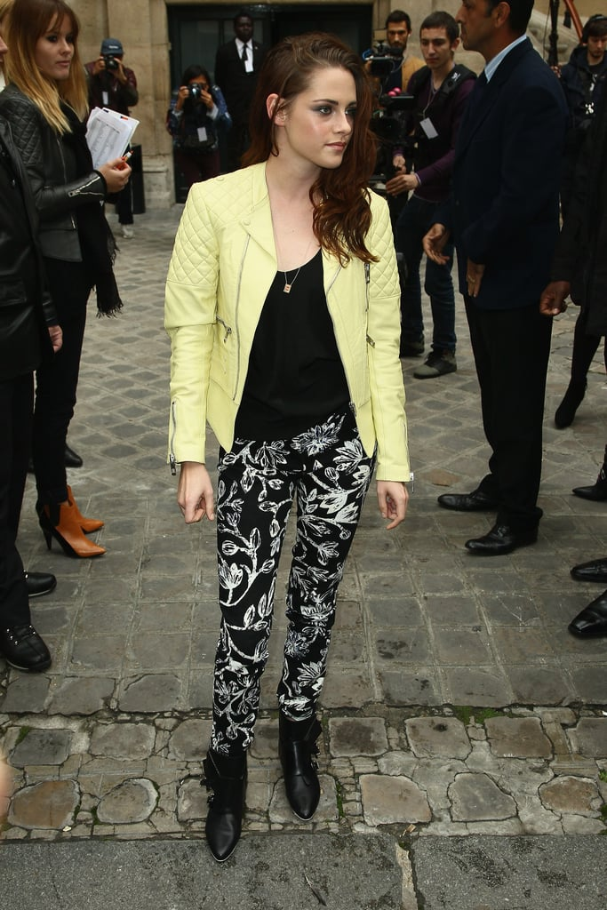 Kristen Stewart stepped out for Balenciaga's Paris show in floral pants.