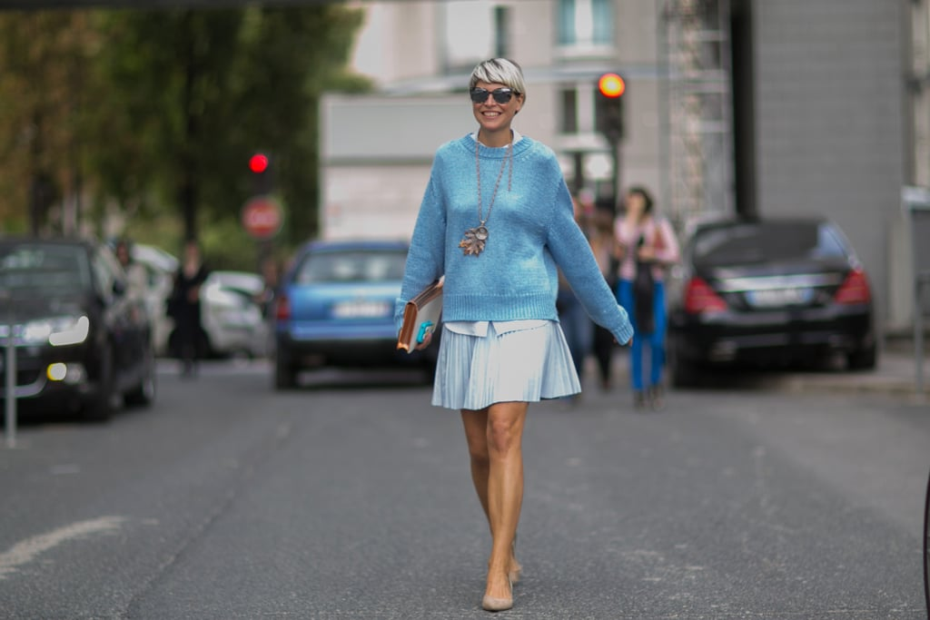 Elisa Nalin was a vision in blue on blue.