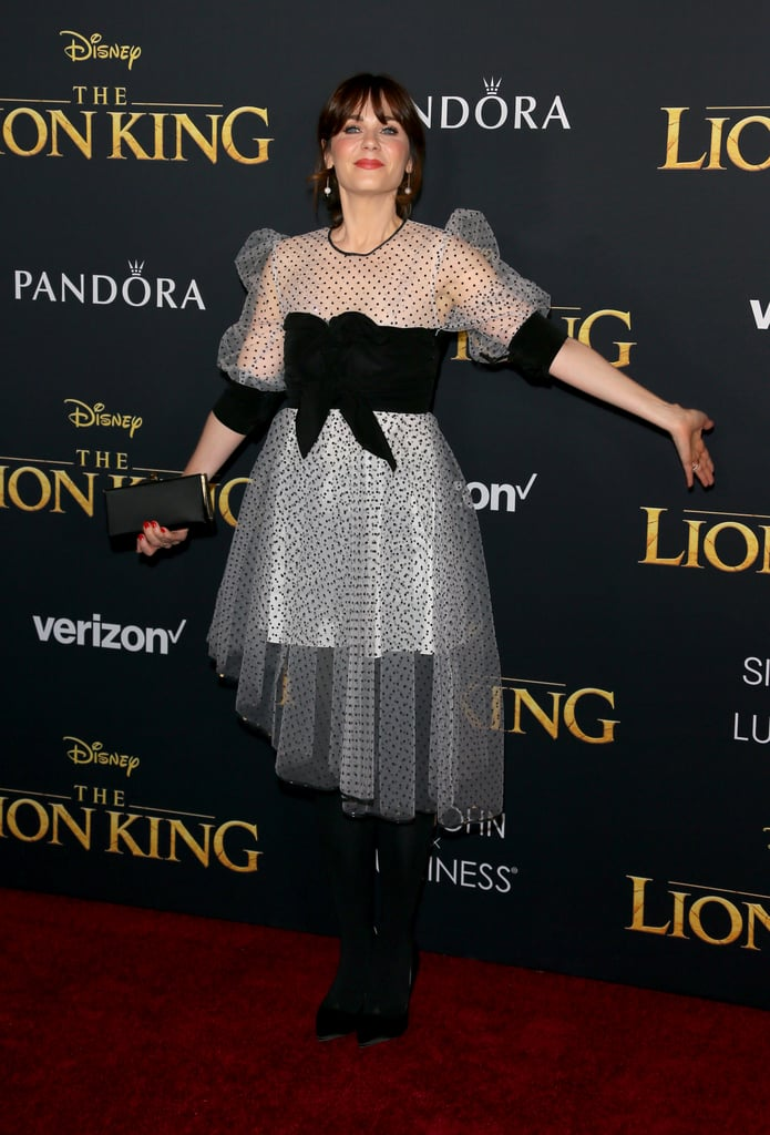 Pictured: Zooey Deschanel at The Lion King premiere in Hollywood.
