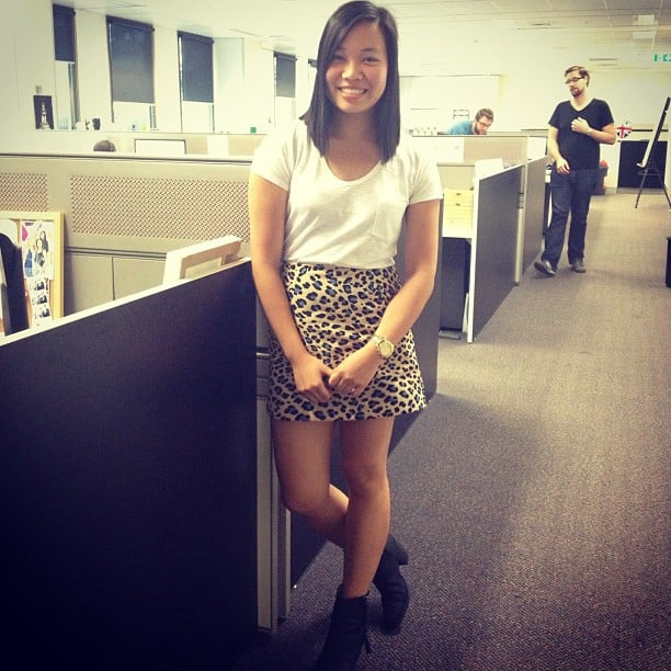 Jess is looking fab in her Sportsgirl tee, Bec & Bridge skirt and Acne boots.