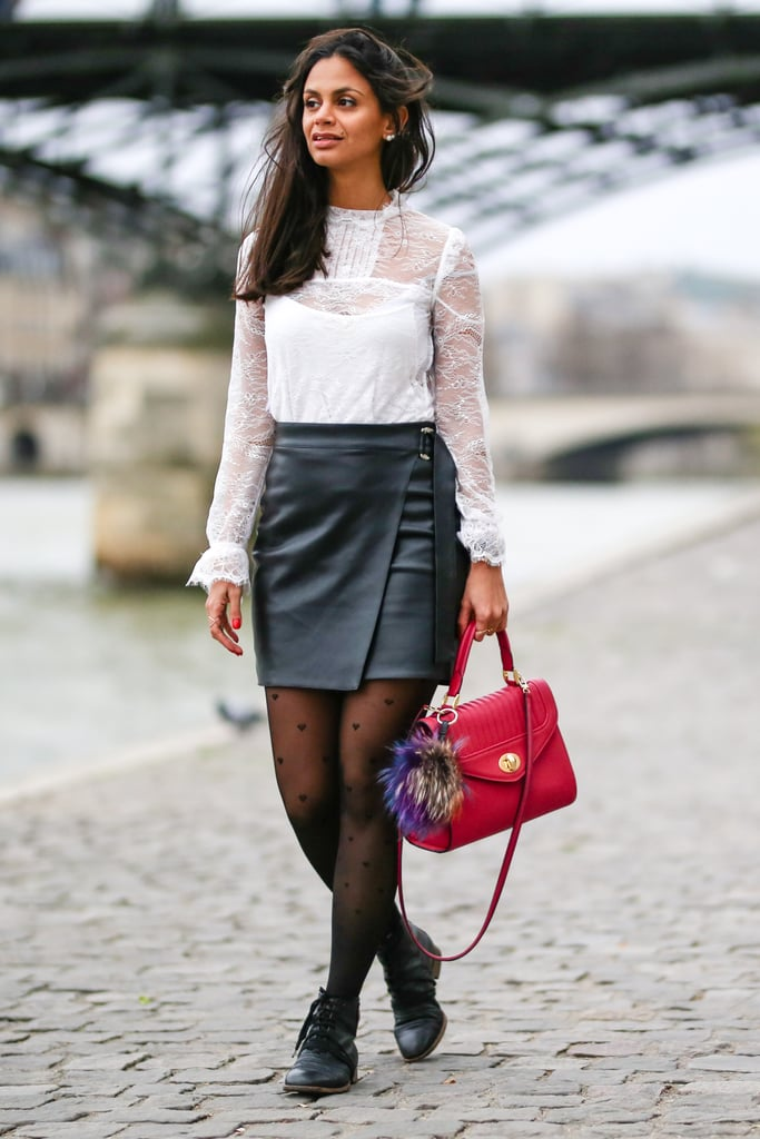 With A White Sheer Top A Leather Skirt And Flats Stylish Ways To