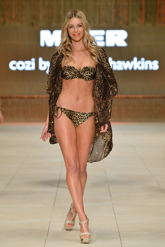 Jen went wild in leopard print Cozi as part of Mercedes-Benz Fashion Festival in Sydney in Aug. 2012.