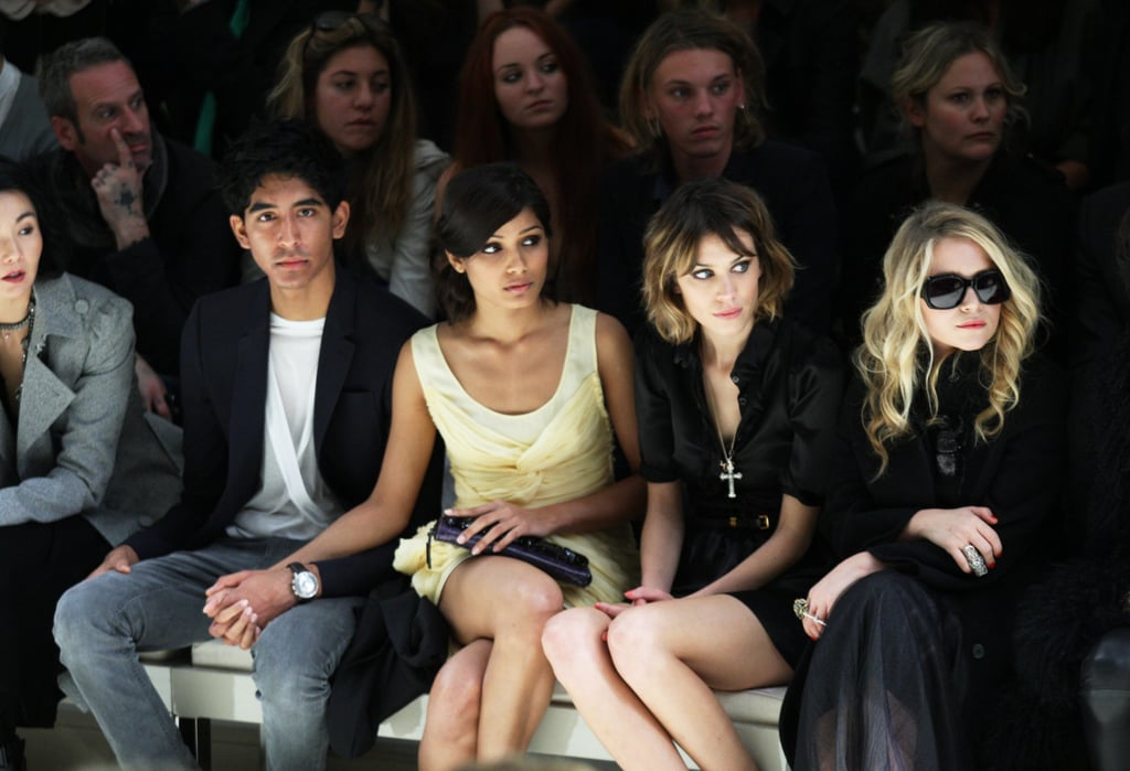 Dev Patel, Freida Pinto, Alexa Chung and Mary-Kate Olsen watched the Burberry Prorsum London show in September 2009.