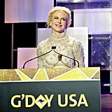 January: Nicole Gave a Speech at G'Day's Black Tie Gala