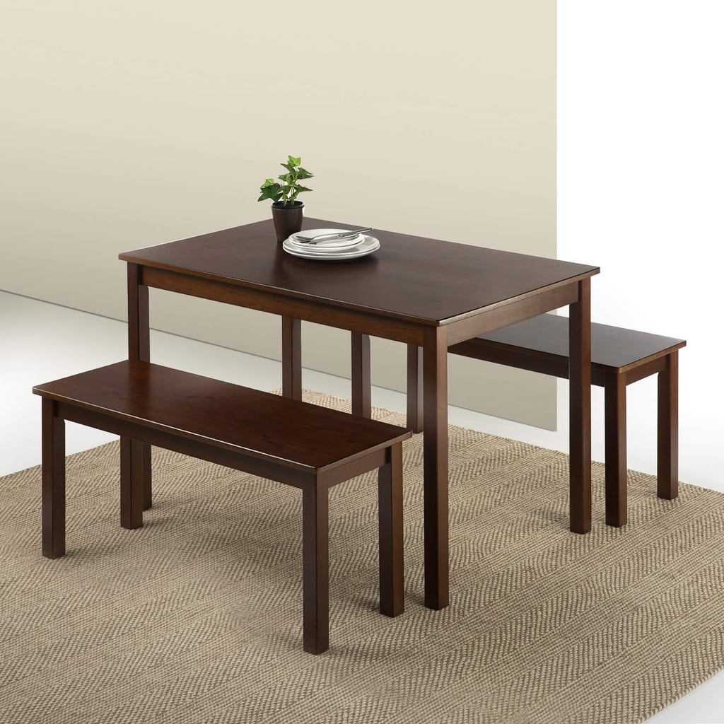 For Your Backyard: Zinus Juliet Espresso Wood Dining Table with Two Benches