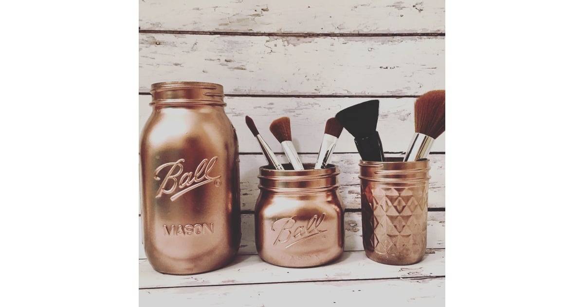 Rose gold makeup brush holder 27 rose gold home decor popsugar home photo 7 - Gold home decor accessories paint ...