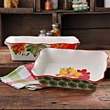 The Pioneer Woman Poinsettia 2-Piece Decorated Rectangular Ruffle-Top Bakeware Set ($20)