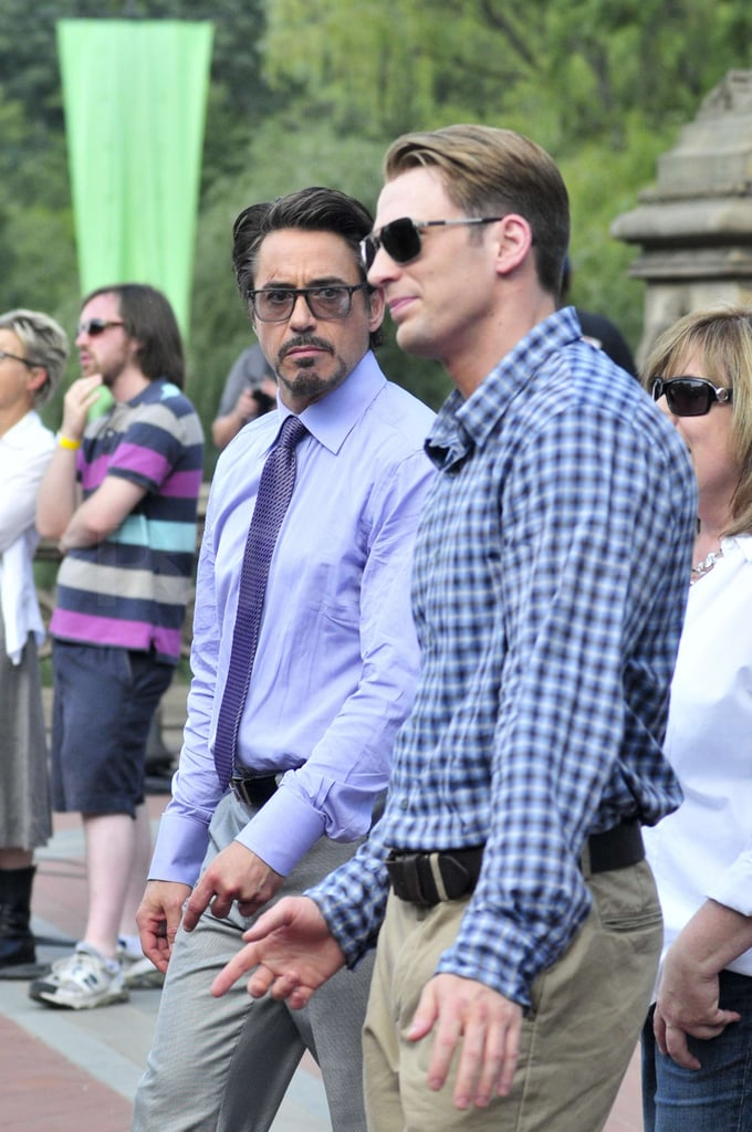 Chris Evans caught up with Robert Downey Jr. on set.