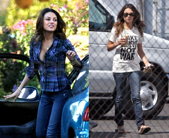 photos of Mila Kunis on the set of Extract