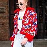 Sophie Turner in a Floral Red Jacket in 2018