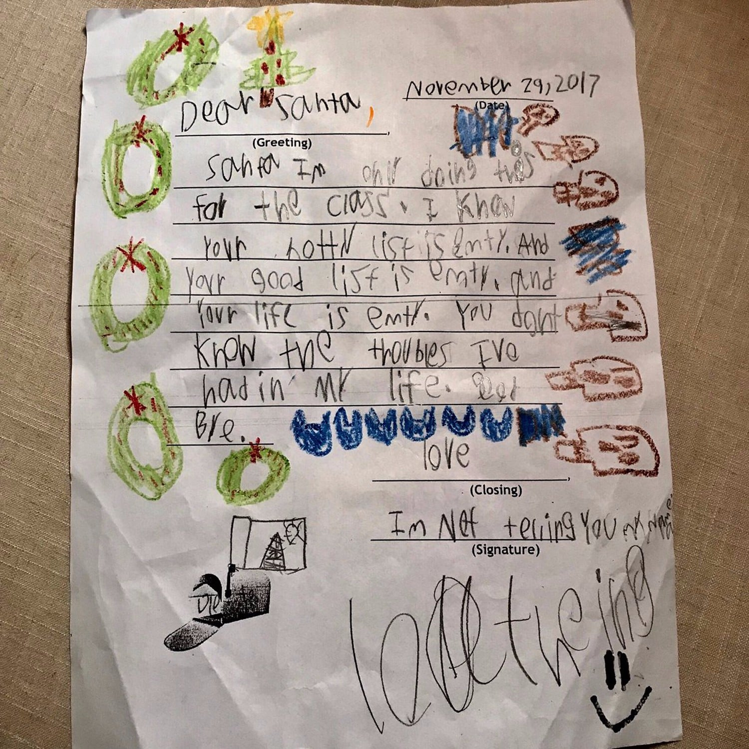YearOldS Savage Letter To Santa  Popsugar Moms
