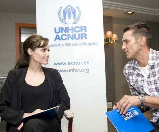Slide Picture of Angelina Jolie Visiting the UNHCR in Madrid