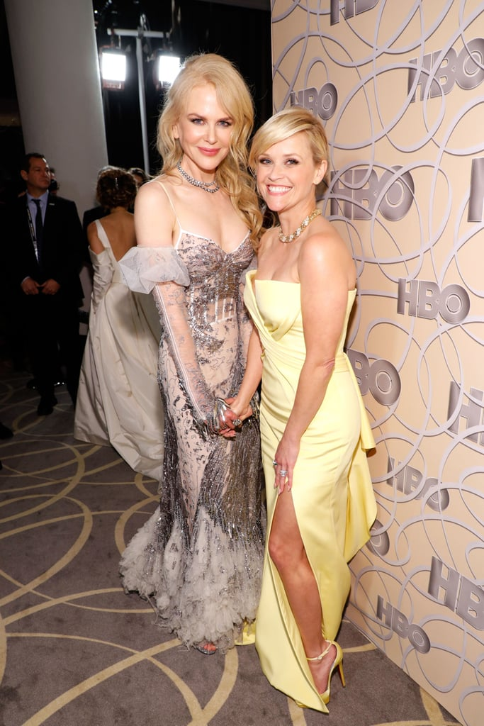Nicole Kidman and Reese Witherspoon were as cute as can be when they popped up at HBO's Golden Globes afterparty on Sunday night. The duo — who costar in HBO's upcoming show Big Little Lies — played up their offscreen chemistry on the red carpet as they held hands and shared a few laughs. Their outing got even cuter when they linked up with pal Sarah Jessica Parker, who gave us major Carrie Bradshaw vibes in her white Vera Wang gown. Earlier in the evening, Nicole and Reese took the stage together to present an award at the ceremony. If this is any indication of what their show will be like, we're in for a real treat.       Related:                                                                                                           15 Moments That Made the Golden Globe Awards Worth Watching