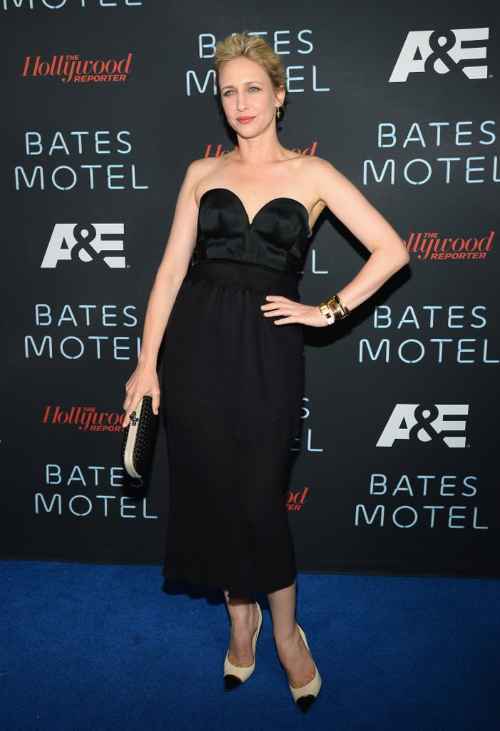 Farmiga wore a strapless black Calvin Klein Collection dress with a sweetheart neckline at a party for her show, Bates Motel.