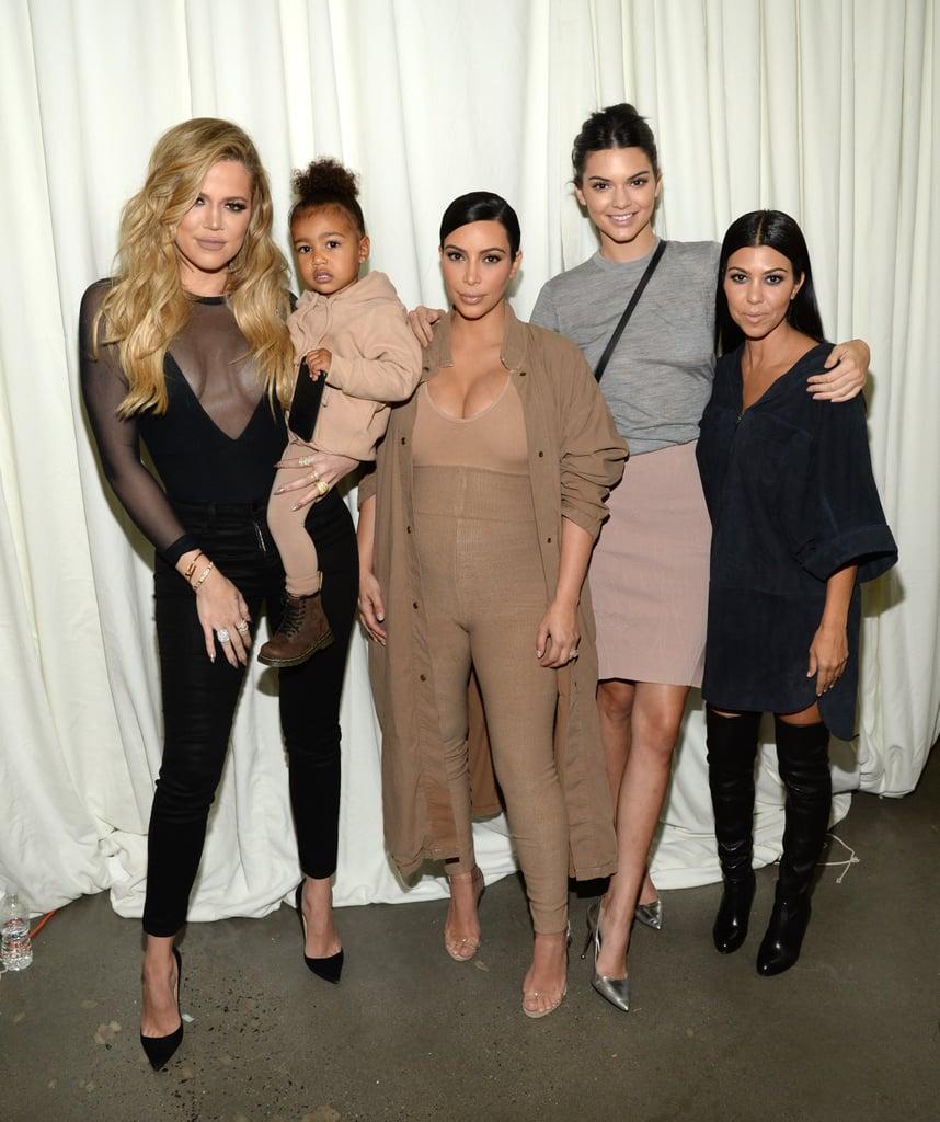 Kim Kardashian and North West at Yeezy Season 2 Fashion Show
