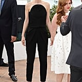At the Great Gatsby photocall in Cannes, Carey rocked a black jumpsuit with a cool rounded collar.