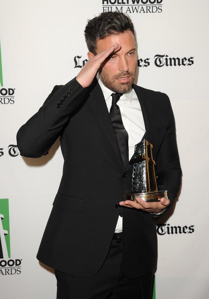 Ben Affleck posed with his award.