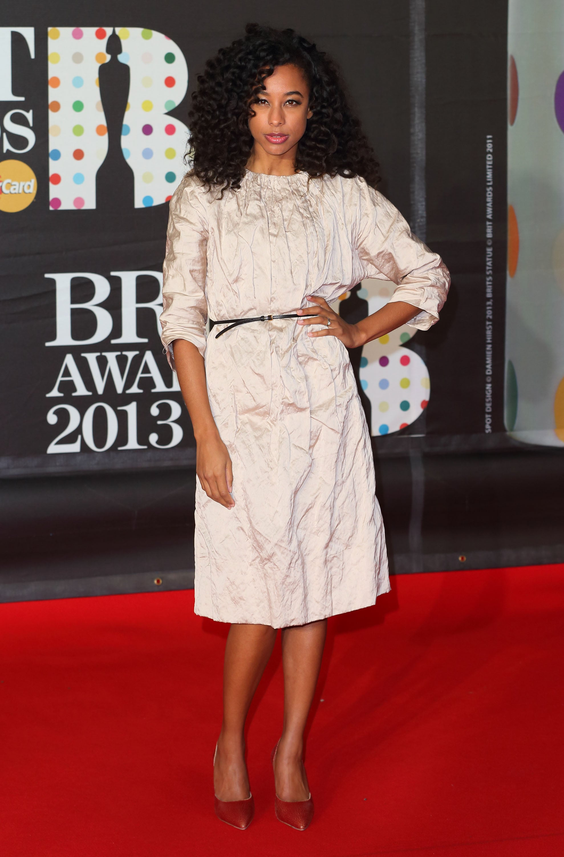 Corinne Bailey Rae wore Spring 2013 Miu Miu at the Brit Awards in London.