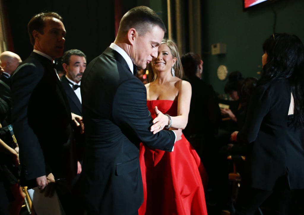 Channing Tatum and Jennifer Aniston shared a moment at the Oscars 2013.