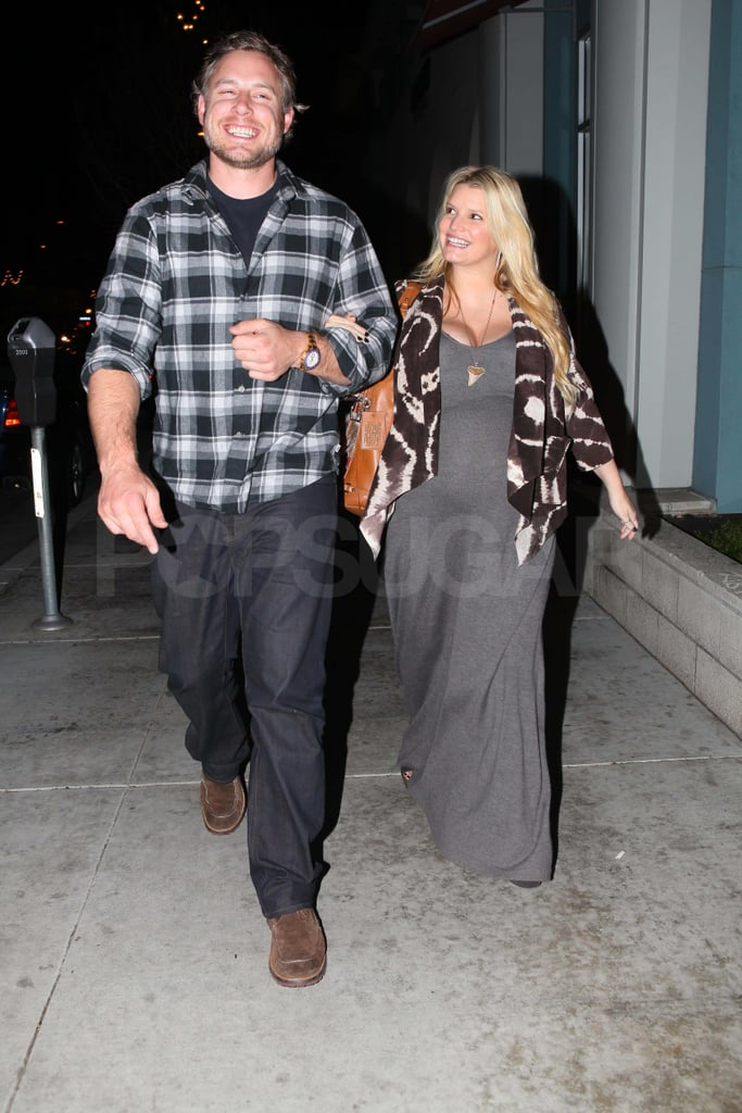 Jessica Simpson and Eric Johnson shared a date night over pizza in LA yesterday. Jessica showed off her maternity style in another maxi dress. The couple are expecting their first child together, but that's not the only project Jessica has on her plate. She and Nicole Richie have been promoting their new reality competition, Fashion Star, which will premiere on March 13. Jessica and Eric will be glued to the small screen well before her show hits, though, since the Super Bowl airs next weekend. They're big football fans, especially after Eric played in the NFL for multiple years following his graduation from Yale.