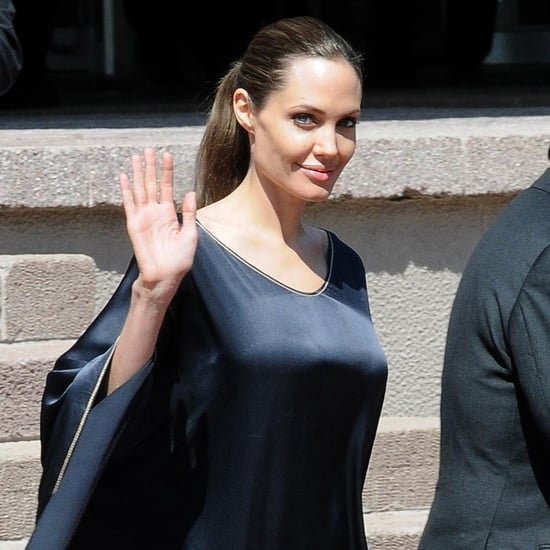 Angelina Jolie In Flowing Black Dress In Turkey