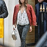 Jessica Biel wore studded leather pants with a studded leather jacket in Paris.