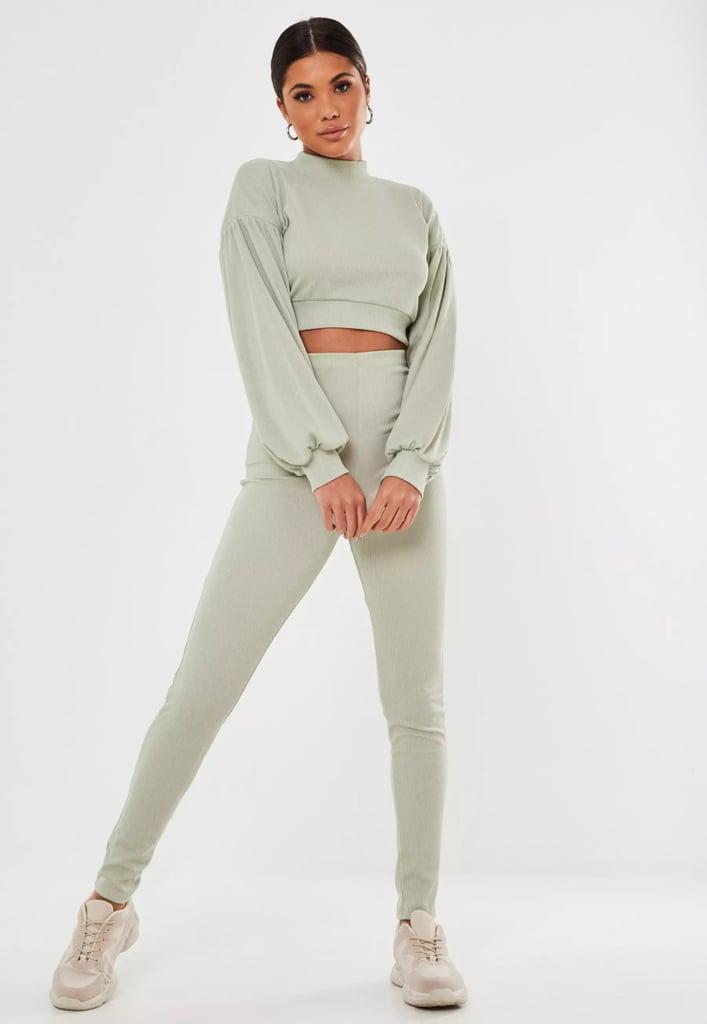 Green Rib Puff-Sleeve Sweatshirt and Leggings