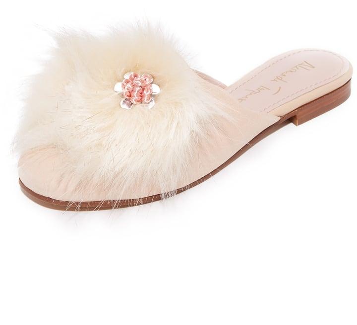 Alameda Turquesa Fluffy Slipper Mules ($445)