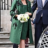 Meghan Markle Fall Outfit Idea: A Green Dress and Matching Coat