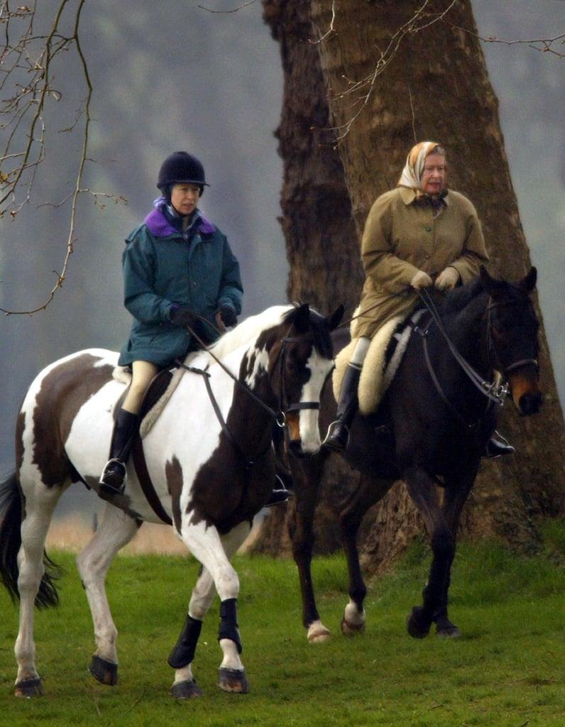 Queen Elizabeth II and Princess Anne in 2002