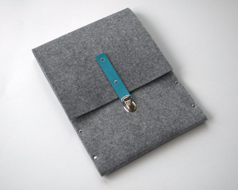 MacBook Air Laptop Sleeve With Turquoise Leather Strap ($30)