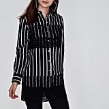 River Island Stripe Lace Panel Longline Shirt
