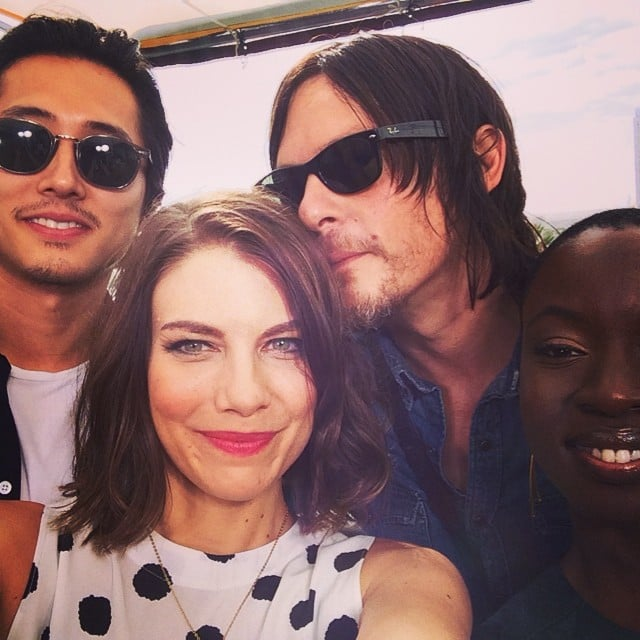 The Walking Dead costars Steven Yeun, Lauren Cohan, Norman Reedus, and Danai Gurira cozied up for a selfie. Source: Instagram user amcthewalkingdead
