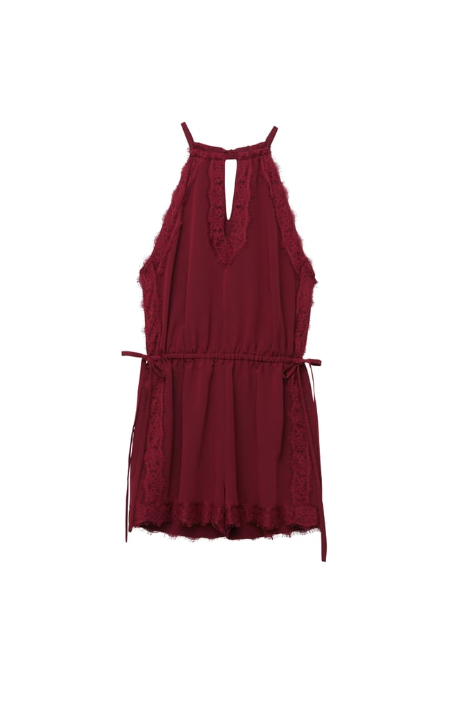 Kendall and Kylie x PacSun Maroon Lace Side Tie Romper