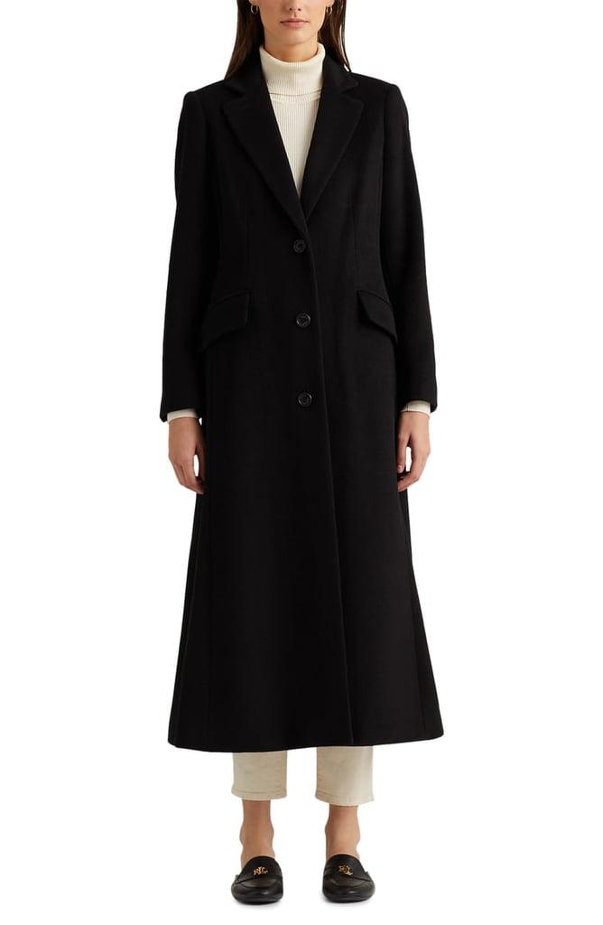 An Elegant Coat:  Lauren Ralph Lauren Wool Blend Longline Coat
