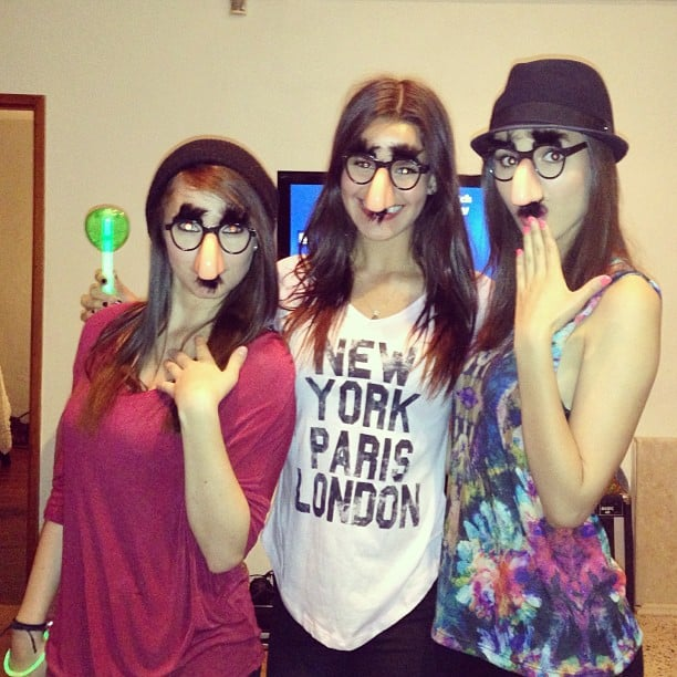 Victoria Justice and her friends got playful with funny glasses. Source: Instagram user victoriajustice
