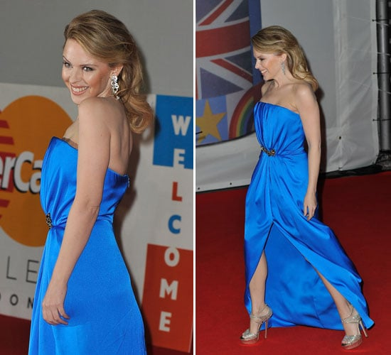 Pictures of Kylie Minogue at the 2012 Brit Awards Wearing a Blue Yves Saint Laurent Gown