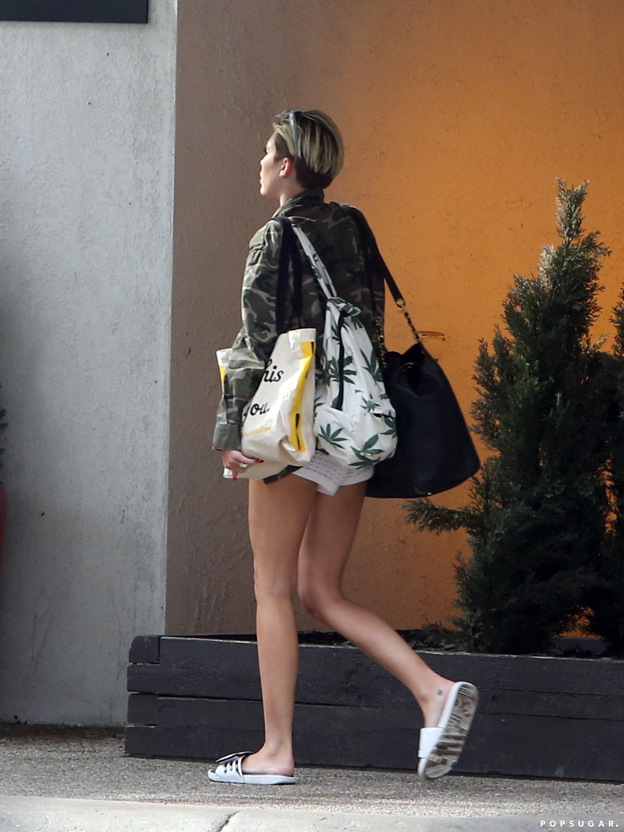 Miley Cyrus carried bags into her hotel.