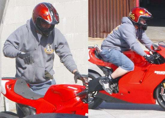 "Photos of Jesse James, Who Allegedly Cheated on Sandra Bullock With Michelle ""Bombshell"" McGee, on His Motorcycle"