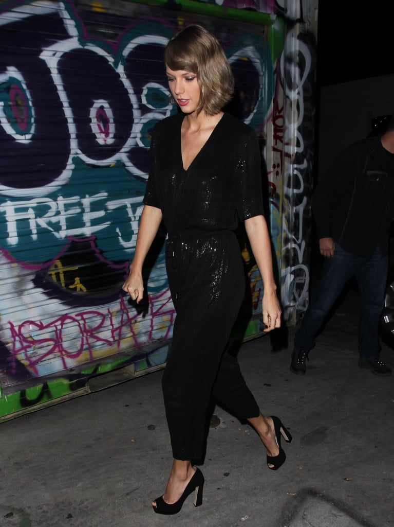 Taylor Swift's Sequin Jumpsuit at Lady Gaga's Birthday Party