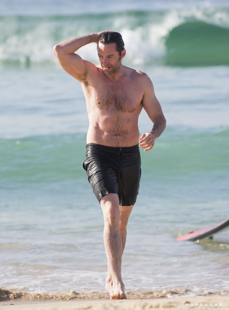 Hugh Jackman doesn't just play heroes on screen; he's also pretty brave IRL. The Wolverine star headed into the ocean for a quick swim at Bondi Beach in Sydney on Friday, but not long after he swam out, the shark alarm was sounded by the Bondi Beach Surf Lifesaving crew. The water was evacuated due to the warning, so the shirtless actor made his way to the shore — slowly, like he was auditioning for a James Bond film — but not before pointing out the possible shark location to warn other swimmers. There were no injuries reported, and Hugh was back on the beach the following day, because nothing comes between him and his morning dip.       Related:                                                                                                           Hugh Jackman Shares a Hilarious Video Congratulating Ryan Reynolds on His Walk of Fame Star