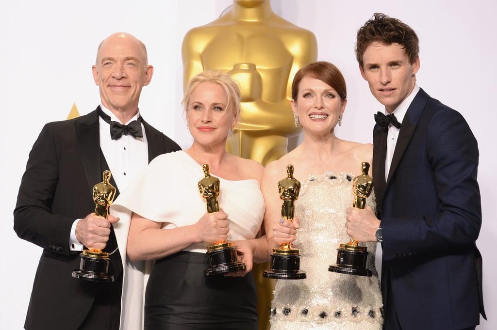 J.K. Simmons, Patricia Arquette, Julianne Moore, and Eddie Redmayne, 2015