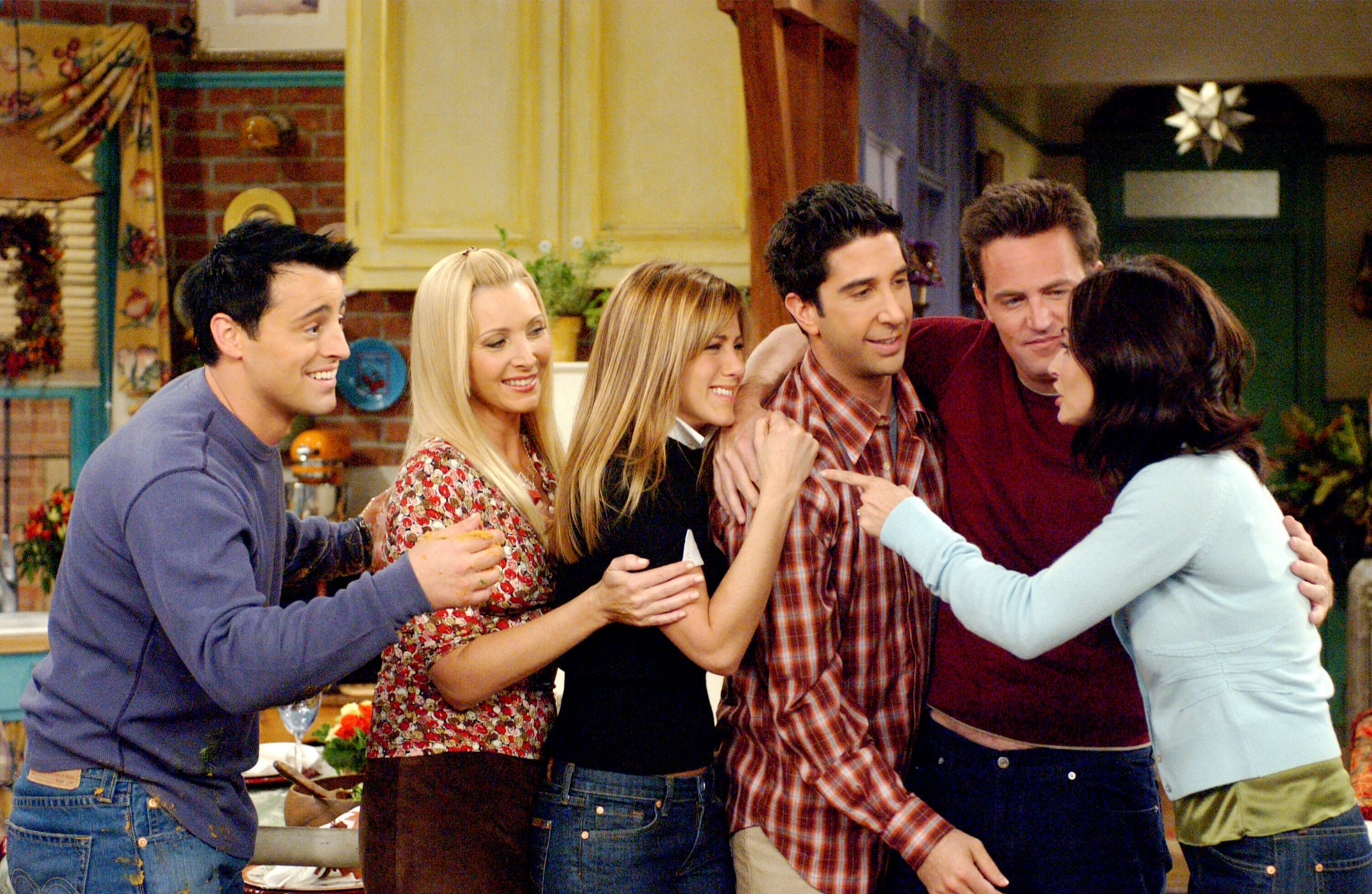 FRIENDS, Matt LeBlanc, Lisa Kudrow, Jennifer Aniston, David Schwimmer, Matthew Perry, Courteney Cox, 'The One With The Late Thanksgiving', (Season 10, epis. #226), 1994-2004,  Warner Bros. / Courtesy: Everett Collection