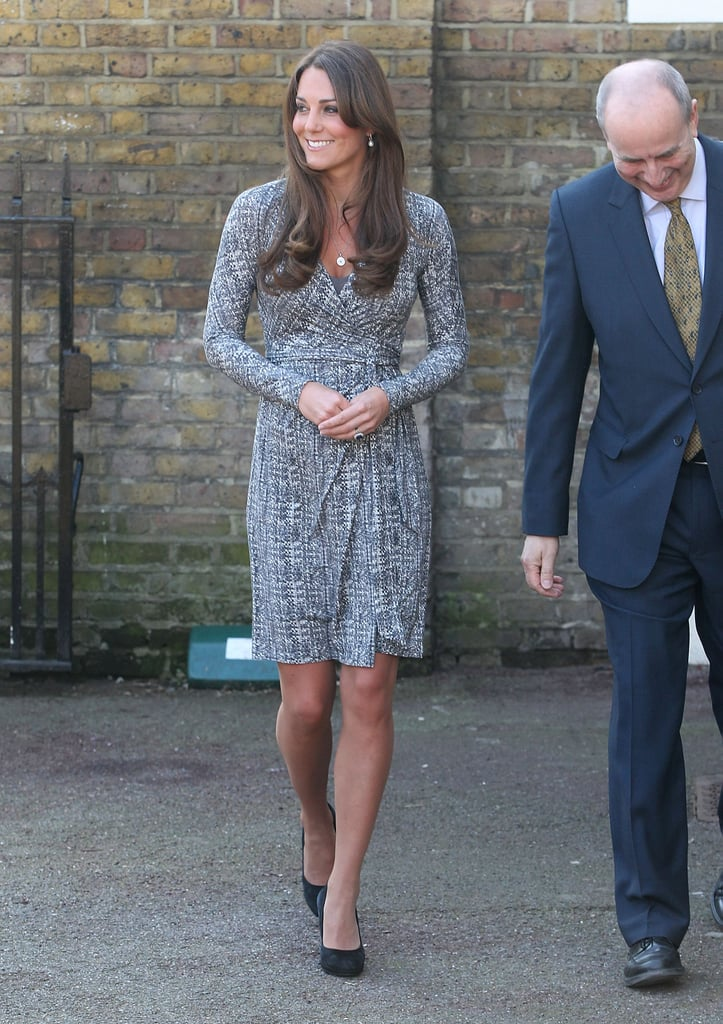 Kate Middleton's Max Mara Studio leopard wrap dress was a comfortable option for her first day back at work this year.