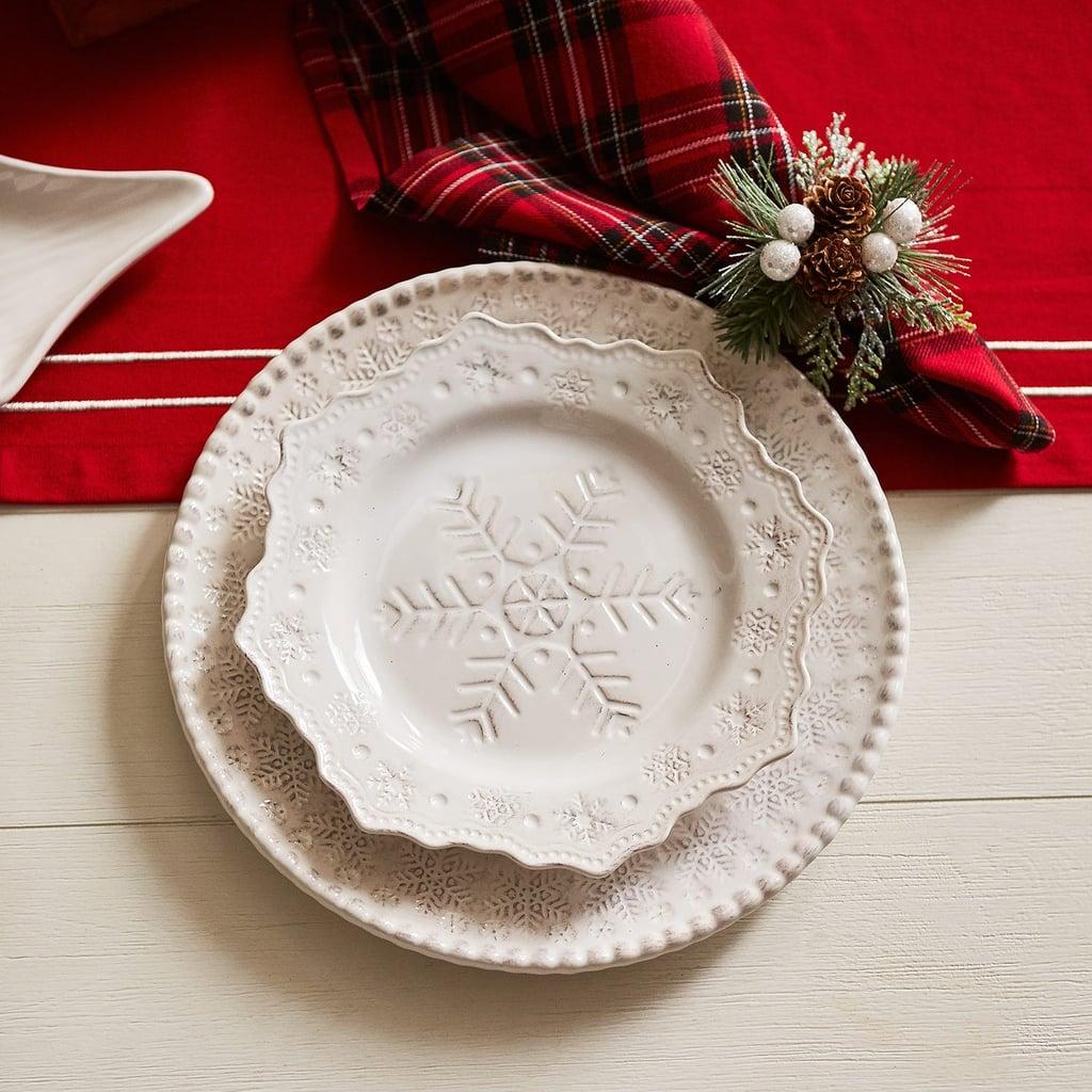 White Snowflake Dinnerware Plate