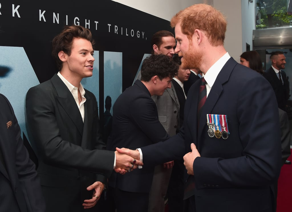"""What could be better than one famous Harry on the red carpet? How about two? Prince Harry stopped by the Dunkirk premiere in London on Thursday, and while he was there met up with former One Direction member Harry Styles, who makes his acting debut in the war film. While the royal proudly wore his medals from his time in the British Army, the """"Sign of the Times"""" singer looked just as handsome in a dark suit. If their appearance looks oddly familiar to you, it's because this isn't their first interaction. In November 2015, the duo met up at the annual Royal Variety Performance where the prince was the guest of honor. If you need us, we'll just be over here fangirling.        Related:                                                                                                           When Worlds Collide: Celebrities Mingle With Royals"""