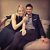 Ryan Seacrest and Chelsea Handler cuddled up with some gluten-free minicupcakes. (Anyone else think they would make the best celeb-couple name: Chelseacrest?) Source: Instagram user ryanseacrest
